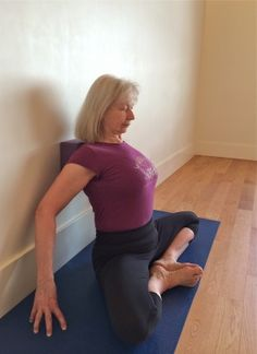 Shoulder/Thoracic reset with block for start of class - 5 minute yoga pose for opening the shoulders - baddha konasana with block between shoulder blades.