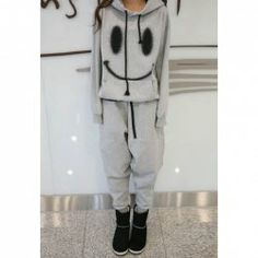 $18.81 Casual Smiling Face Print Hooded Long Sleeve Outwear   Harem Pants Sports Suit for Women
