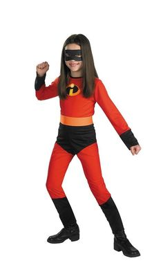 Get your child ready for an incredible Halloween with this Mrs. Incredible costume. It comes with a black mask and a red jumpsuit with the I logo imprinted in the center of the chest. The red jumper comes with long sleeves and a zip-up enclosure in the back.