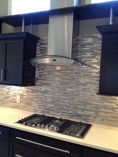 Glass and Stainless Steel Linear Backsplash