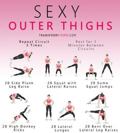 Sexy Outer Thigh Exercises Circuit – Transform Fitspo Sexy Outer Thigh Exercises Circuit – Transform Fitspo,Fitness A great workout blast filled with outer thigh exercises to develop your sexy legs and glutes! Fitness Workouts, Circuit Fitness, Butt Workout, At Home Workouts, Thin Thighs Workout, Hamstring Workout, Bigger Buttocks Workout, Thigh Workout Challenge, Lazy Girl Workout