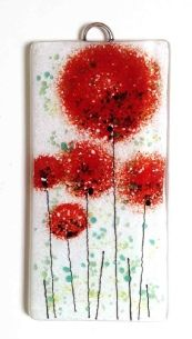 Red pompom poppy flowers fused glass panel by Fired creations. www.firedcreations.co.uk
