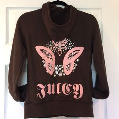 Juicy Couture Hoodie Brown Hooded Zip Up Sweatshirt. Crowned Butterfly with silver foil stars on back. Juicy Couture Tops Sweatshirts & Hoodies