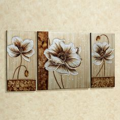 Subtle Elegance Floral Canvas Art Multi Metallic Set of Three