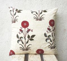 Block Print Pillow Covers - Red and Dark Olive Floral Motifs Hand Printed on Cream Background - 18x18 - 1 pair