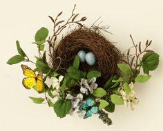 www.birdnestdecor | Bird nest decor | bird nest decor | Bird Nest with Butterflies & Eggs