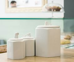 Guardians jars in fine porcelain with a little elephant or dragon protecting the cookies and treats inside!