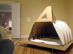"The Cardborigami shelter is on display at the Berkshire Museum's latest exhibit, ""PaperWorks: The Art and Science of an Extraordinary Materi..."