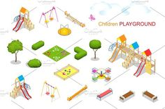 Children playground. Flat 3d isometric vector illustration for i Graphics Children playground. Flat 3d isometric vector illustration for infographics. Swing carousel sandpit by Golden Sikorka