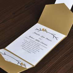 373 best spring wedding invitations images on pinterest spring love birds card and elegant gold pocket wedding invites with free response card ewpi016 as low filmwisefo
