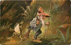 Rare Artist Schonian Gnome Hunter Dwarf With Rifle & Frog Vintage Postcard picclick.com