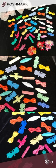 """Baby Little Girl clips for Hair. Lot of cute clips for baby or little girl. In good used condition.  These work best on fine hair or maybe your cute little furbaby.. size of clips is approx. 1"""". Accessories Hair Accessories"""