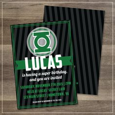 Green Lantern Printable Birthday Party Invitation | $12.00 | Amanda Franks Design