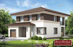 Projekt domu Kasjopea, wizualizacja 1 Classic House, Modern Classic, 2 Storey House, House Entrance, Dream House Plans, Modular Homes, Design Case, Ground Floor, Building Design