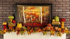 Add a beautifully framed poster to your mantel for a fabulous fall focal point.