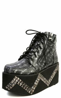 AmazonSmile: Privileged McKing Skull Print Studded Flatform Creepers SILVER: Shoes