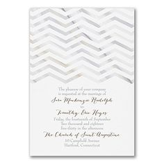 Marbled Chevron - Invitation  Sleek, stylish, you. Neutral marbled colors and subtle chevron patterns come together on this wedding invitation to introduce your big day in a modern way.