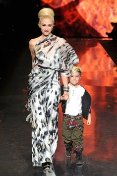 Gwen Stefani takes to the catwalk with adorable son Kingston