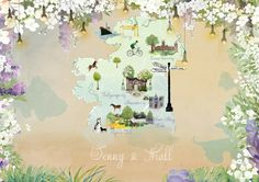 Old maps, torches and blossoms, custom designed wedding invitation. #wedding #map