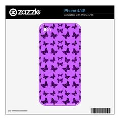Purple Leopard Print Butterfly Pattern Skins For The iPhone 4