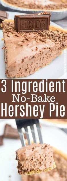 3 Ingredient No-Bake Hershey Pie is so simple to make and a recipe you will love., Desserts, 3 Ingredient No-Bake Hershey Pie is so simple to make and a recipe you will love. Köstliche Desserts, Chocolate Desserts, Delicious Desserts, Simple Dessert Recipes, Chocolate Pie Recipes, Easy No Bake Desserts, Chocolate Decorations, Chocolate Muffins, Healthy Desserts