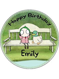 Sarah and Duck 7.5inch Round personalised birthday cake topper printed on icing: Amazon.co.uk: Grocery