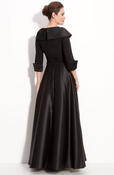 Eliza J Jersey & Satin Portrait Collar Gown Formal Evening Dresses, Elegant Dresses, Evening Gowns, Long Dresses, Mother Of The Bride Gown, Mother Of Groom Dresses, Western Gown, Western Dresses, Abaya Fashion