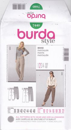 Burda Style 7440 Pattern Uncut 10 12 14 16 18 20 22 plus Loose Fit Baggy Pants Wide Leg or Cuffed at Ankle Pockets Drawstring