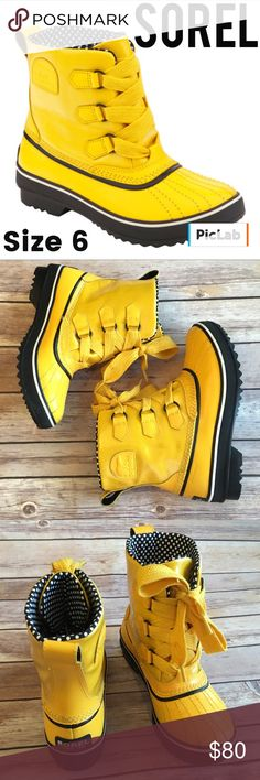 Sorel Tivoli Yellow Boot Size 6 EUC Super Cute, Warm & Comfortable Boot! Runs a little big. Worn only a few times. Sorel Shoes Winter & Rain Boots