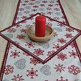 Úžitkový textil - Režné Vianoce vločky a srdiečka - obrúsok štvorec 40x40 - 7322716_