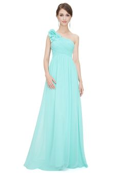 One Shoulder Floor Length Blue Chiffon A-Line Evening Dress Oedev159