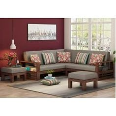 Buy Winster L-Shaped Wooden Sofa (Warm Grey, Walnut Finish) Online in India - Wooden Street Living Room Arrangements, Living Room Furniture Arrangement, Living Furniture, Bed Furniture, Blue Distressed Furniture, Red Painted Furniture, Sofa Bed Design, Living Room Sofa Design, Corner Sofa Wooden