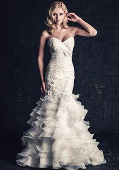 Sweetheart Organza & Lace Mermaid Sleeveless Lace up Back Floor Length Wedding Dresses