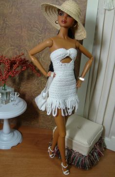 This links to an outrageously fun board even if you do not crochet or have a Barbie Doll.  Cro Barbie Board by Jeannine Jacob.  Crochet patterns modeled by Barbie, including outfits, living room furniture and toilet.