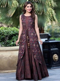 Shop Brown silk designer kurti online from India. Batik Dress, Saree Dress, Indian Gowns Dresses, Indian Outfits, Stylish Dresses, Fashion Dresses, Designer Kurtis Online, Kurti Designs Party Wear, Designs For Dresses