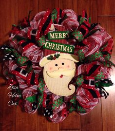 """Merry Christmas"" Santa deco mesh wreath, green with red polka dots, black & white polka dots, Santa belt ribbon"