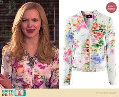 Liv's watercolor jacket on Liv and Maddie.  Outfit Details: http://wornontv.net/39108/ #LivandMaddie