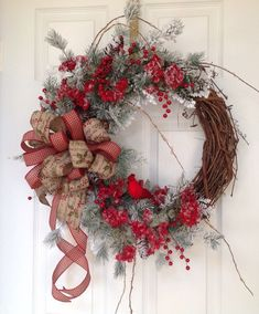 Beautiful Country Christmas Wreath. Rustic Holiday wreath.  Holiday door decor.  Country Christmas wreath.  Snow flocked branches. - pinned by pin4etsy.com