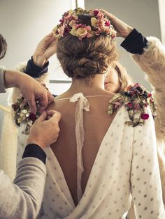 don't like the updo very much but those floral epaulettes are so good Bridal Updo, Bridal Dresses, Wedding Ceremony, Wedding Gowns, Perfect Wedding, Dream Wedding, Bohemian Bride, Alternative Wedding, Barbacoa