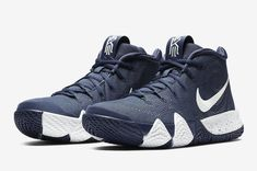 The Nike Kyrie 4 Surfaces In Navy And White - Dr Wong - Emporium of Tings. Girls Basketball Shoes, Volleyball Shoes, Nike Basketball Shoes, Sports Shoes, Basketball Stuff, Nike Tennis, Best Sneakers, Sneakers Fashion, Sneakers Nike
