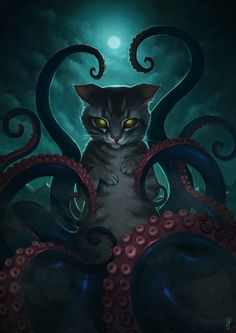 Catthulhu by aeryael on DeviantArt Cthulhu, Arte Horror, Horror Art, Kraken, Gato Steampunk, Arte Peculiar, Octopus Art, Cat Drawing, Dark Art