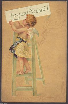 Art Deco Vintage Valentine Postcard Cupid Climbs Ladder Hangs Love Message | eBay