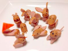 Lots of Vienna hotdog animals >^ Bento Recipes, Baby Food Recipes, Food Crafts, Diy Food, Toddler Meals, Kids Meals, Cute Food, Good Food, Funny Food
