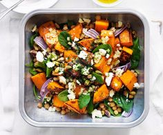 Roast pumpkin, feta and chickpea salad - Combine pumpkin and oil in a large baking dish; Roast about 15 minutes or until tender. Roasted Chickpea Salad, Roasted Vegetable Salad, Chickpea Salad Recipes, Roasted Vegetables, Veggies, Vegetable Dishes, Vegetable Recipes, Vegetarian Recipes, Cooking Recipes