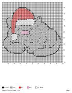 SLEEPING CHRISTMAS KITTY by KATHY -- WALL HANGING
