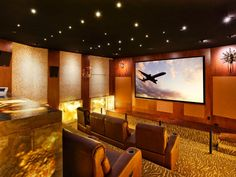 24 Inspiring Home Theater Design : Best Collection From Cedia At Home Movie Theater, Home Theater Speakers, Home Theater Rooms, Home Theater Seating, Home Theater Projectors, Home Theater Design, Living Room Theaters, Room Screen, Art Deco Home