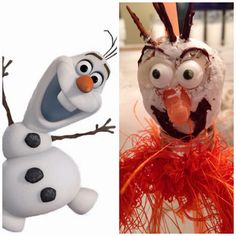 Trying to create Olaf's face on donut hole....nailed it! NOT!! lol so funny and scary. See the cute Olaf punch bowl I made..it won't scare the kids :)
