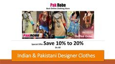Our this presentation is relevant to Indian & Pakistani Clothes in which we mentioned new arrivals of designer suits. If you want to buy Indian & Pakistani clothing collection online in discount prices visit pakrobe and sign up with it for special coupon code.