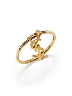 Saint Laurent Monogramme Fin Signature Charm Ring