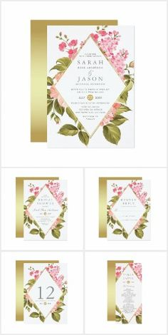 Wedding Set | Watercolor Roses & Blossom on Gold